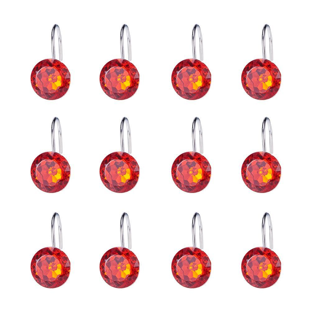 12pcs Shower Curtain Hooks Red-INC-HW05-079