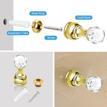 Load image into Gallery viewer, 4 Pack Crystal Decorative Wall Hooks Small Diamond-INC-HW05-114