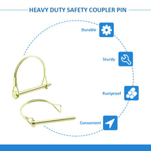 Load image into Gallery viewer, 10 Pcs 1/4 Inch Shaft Locking Pin Pto Pin Heavy Duty Safety Coupler Hitch Pin, Round Arch Wire Retainer-INC-HW06-120