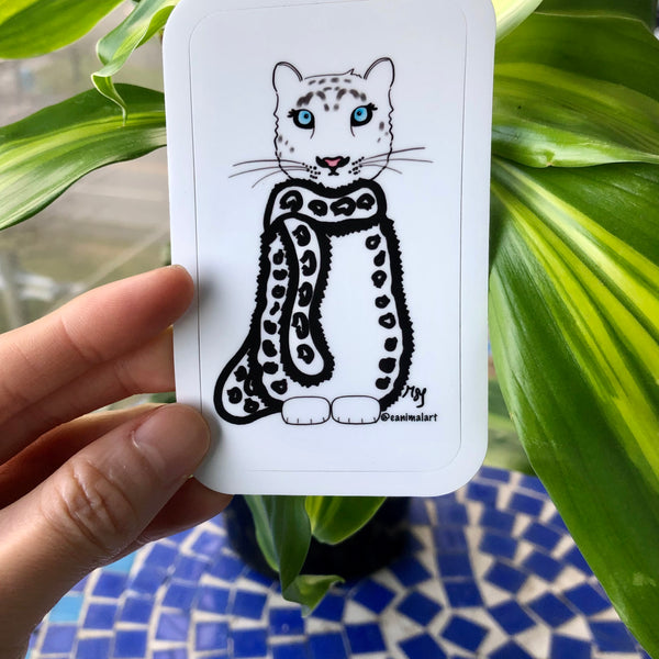 Snow Leopard Sticker - Snow Leopard Cartoon That Looks Like the Snow Leopard Is Wearing a Fur Coat and Scarf - Endangered Animal Art