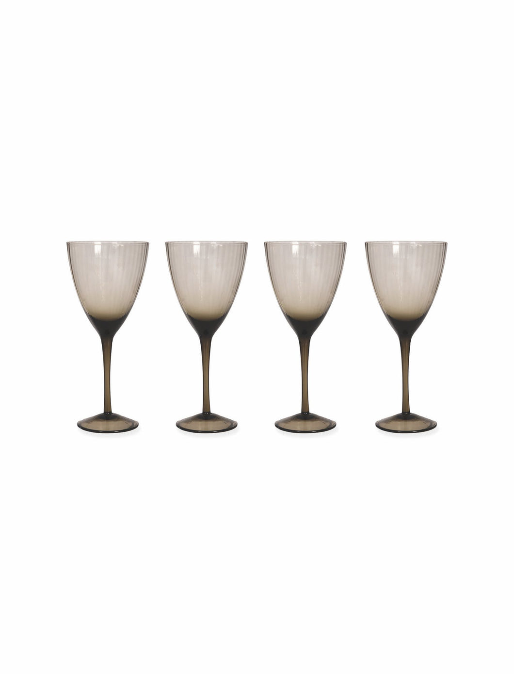 Set Of Four Smoked Wine Glasses