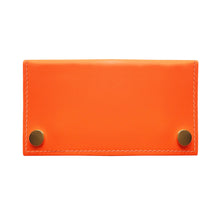 Load image into Gallery viewer, Neon Orange Leather Two Popper Purse