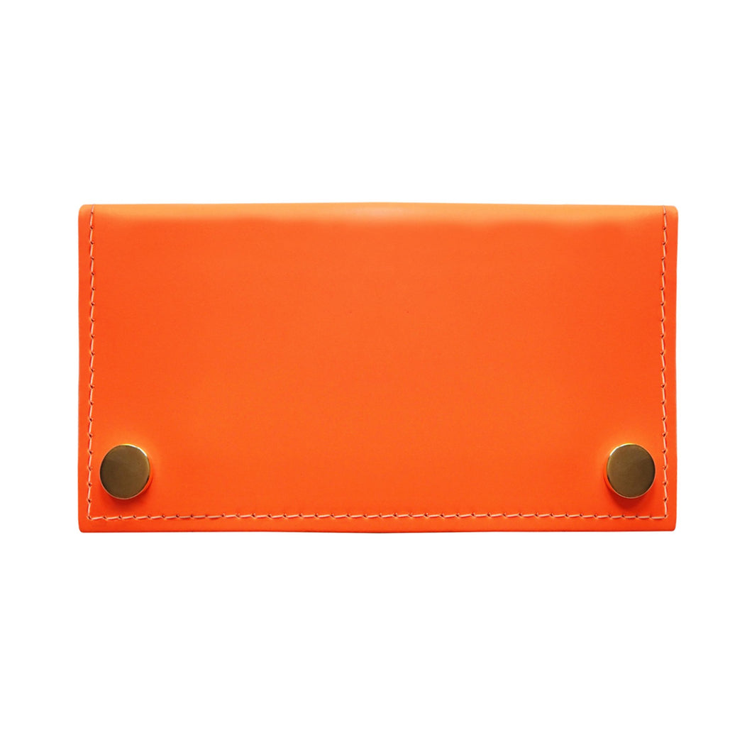 Neon Orange Leather Two Popper Purse