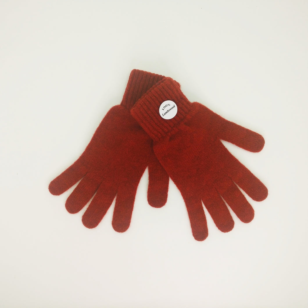 Brick Red  Lambswool Gloves