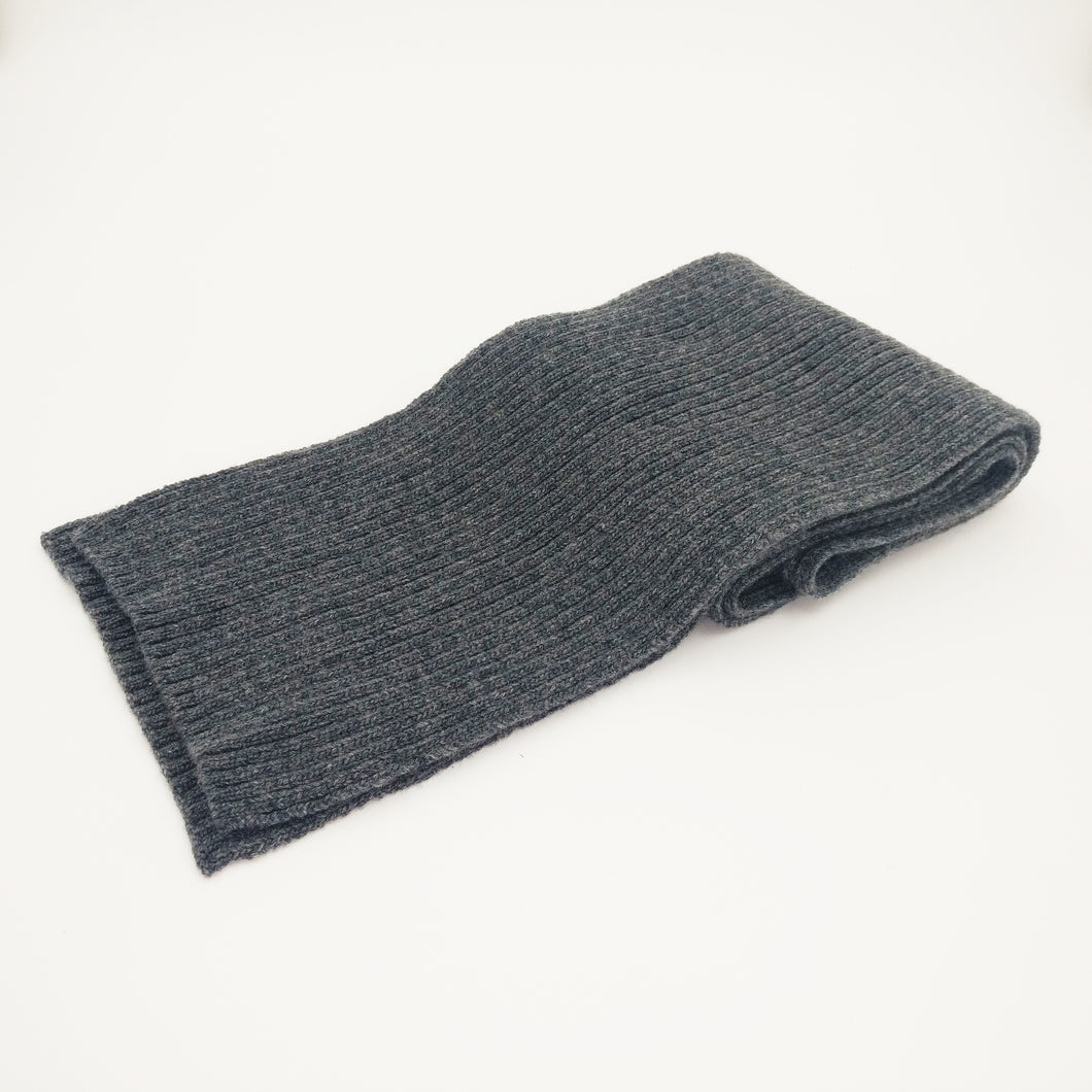 Grey 100%  Scottish Cashmere Thick Ribbed Scarf
