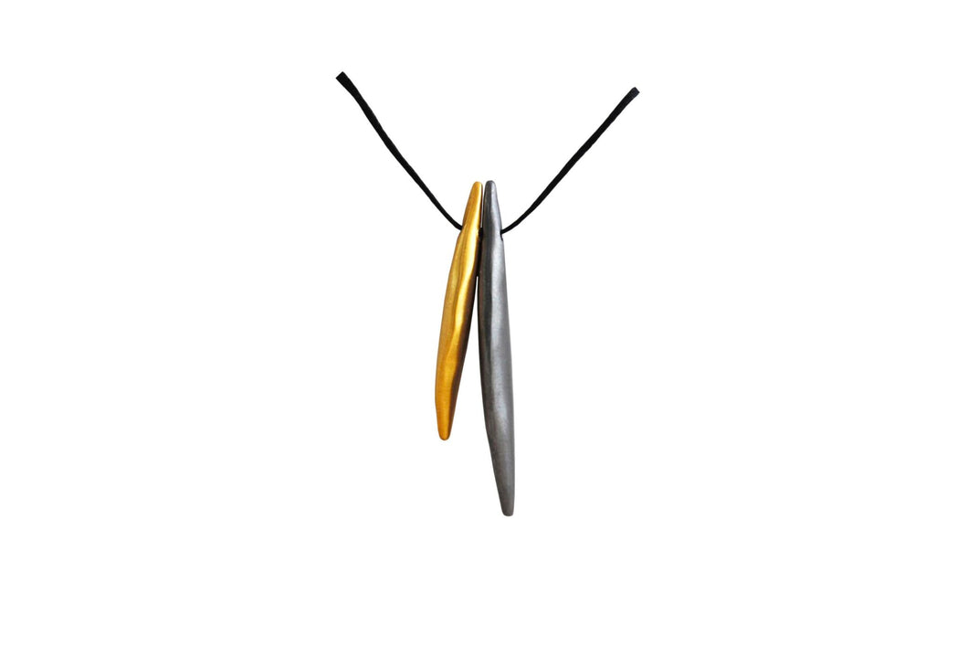 Wings Necklace Black Rhodium & Gold Plated