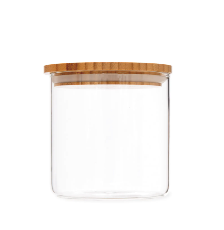 Glass storage jar with bamboo lid