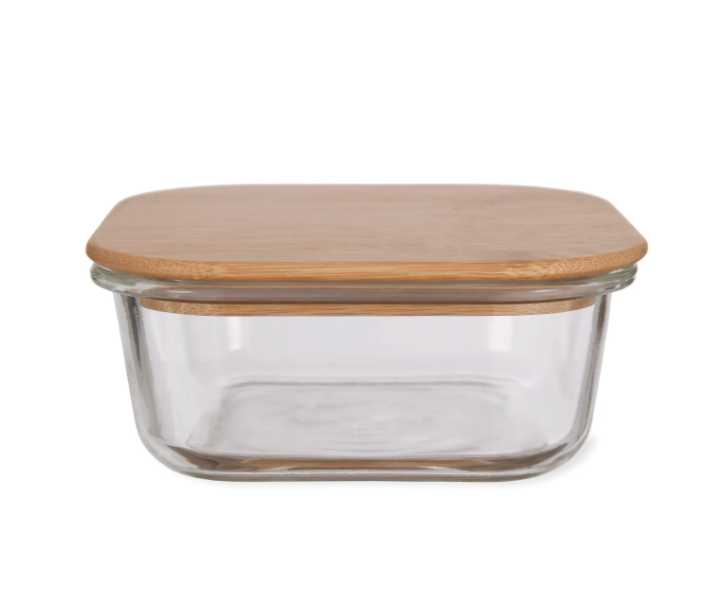 Glass storage container with bamboo lid