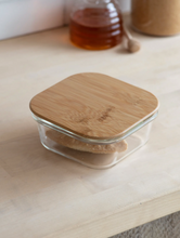 Load image into Gallery viewer, Glass storage container with bamboo lid