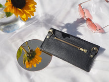 Load image into Gallery viewer, Black Leather Envelope Purse with Detachable Strap