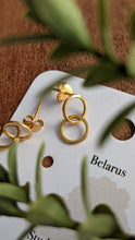 Load image into Gallery viewer, Belarus Forever Hoops Gold Plated Sterling Silver