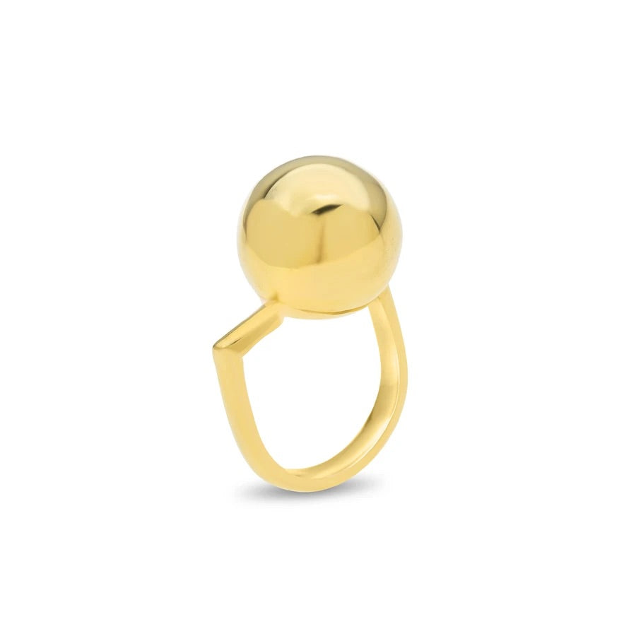 Off Centre Ball Ring Gold Plated Sterling Silver