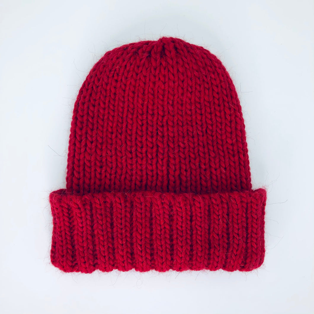Red Wool/Alpaca Mix Beanie