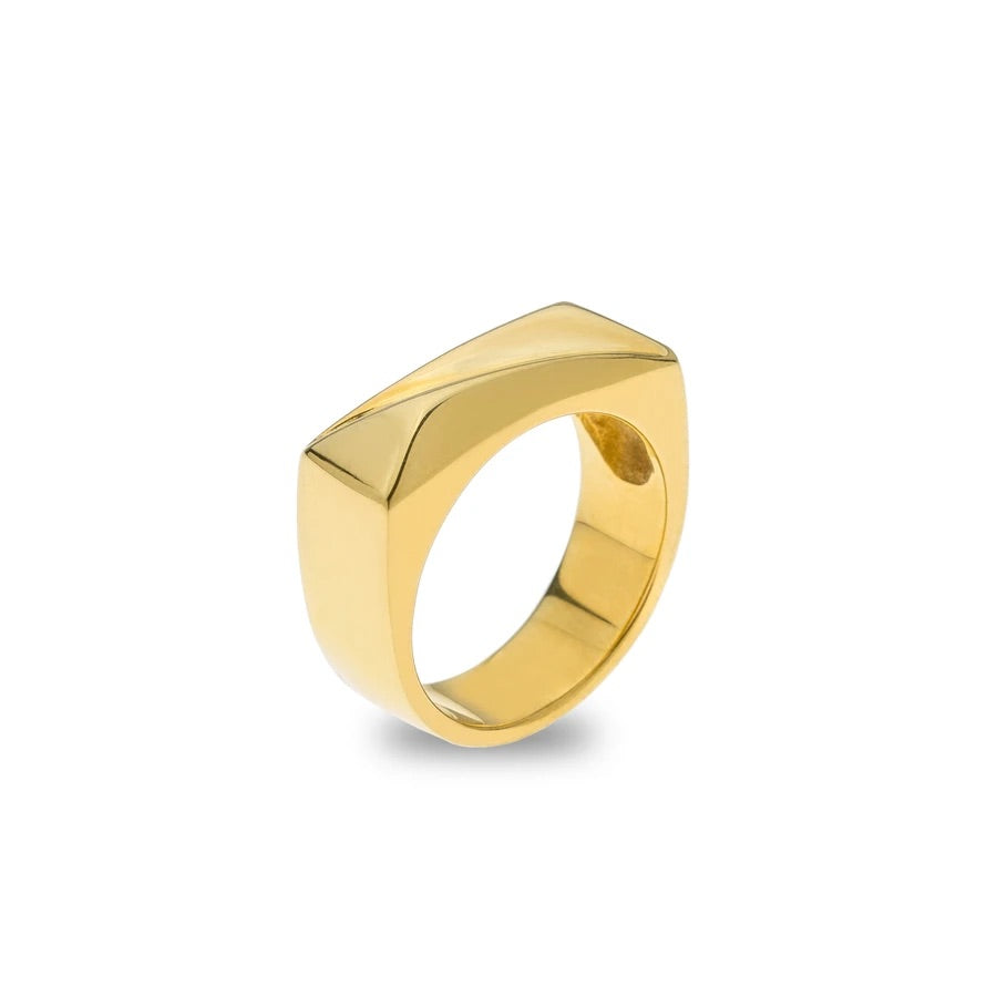 Chunky Ring Gold Plated Sterling Silver