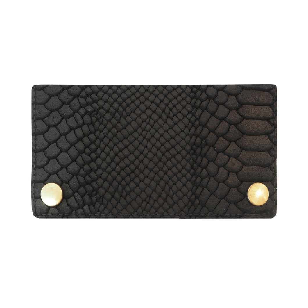 Black Embossed Leather Two Popper Purse
