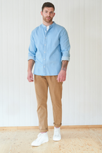 Load image into Gallery viewer, Denim Shirt With Granddad Collar Light Wash