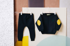 Organic cotton knitted sweater with lemon patches