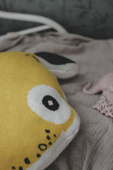 Nordic lemon features cushions collection of many shapes made of organic cotton