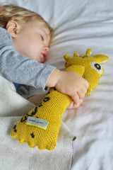 Baby boy is sleeping tight with knitted organic toy