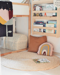 Bookshelf on the wall as a reading spot for kids