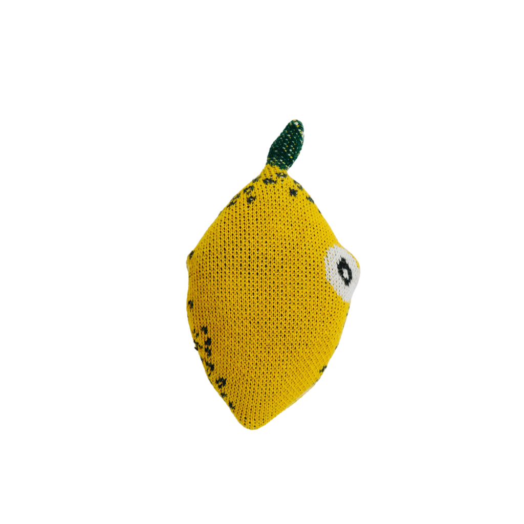 Nordic Lemon mini toy shaped as a lemon made of organic cotton and filled with corn fiber