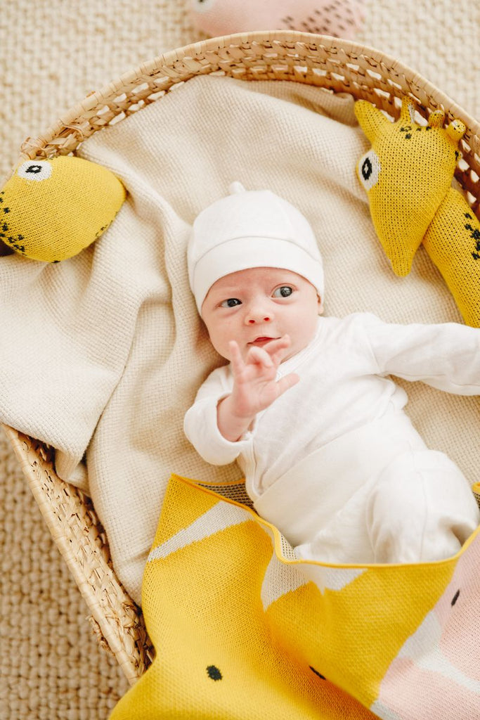 Nordic Lemon organic collection features mini toy friends - giraffe Albert and little lemon toy made from organic cotton and with corn fibre filling.