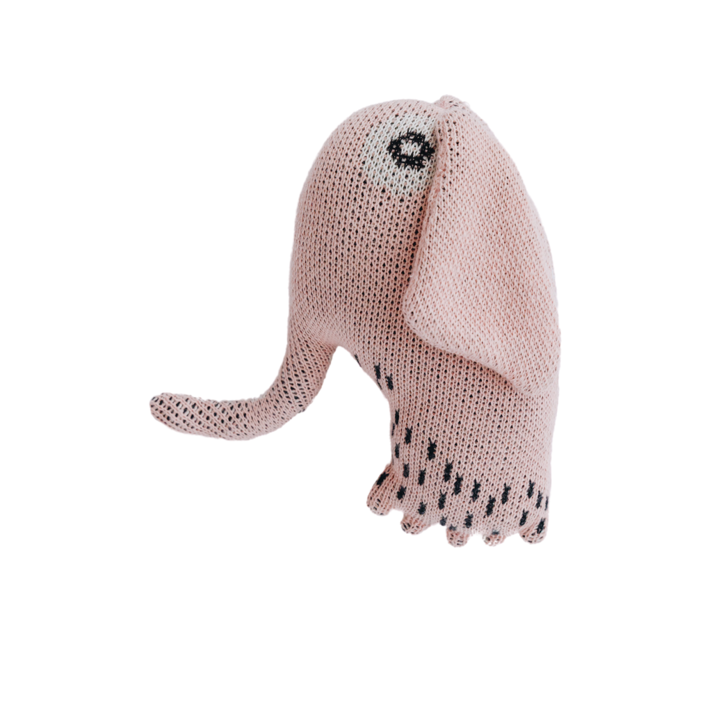 Nordic Lemon pink elephant toy made from GOTS organic cotton with corn fiber filling.