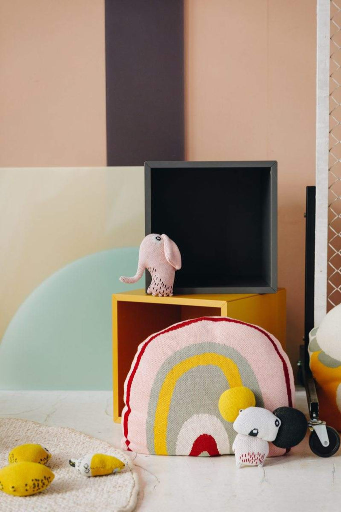 Nordic Lemon interior collection features rainbow shaped cushion and toys in beautiful soft colors.