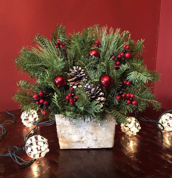 Birch Box Centerpiece-Decorative Evergreens-Christmas Delivered