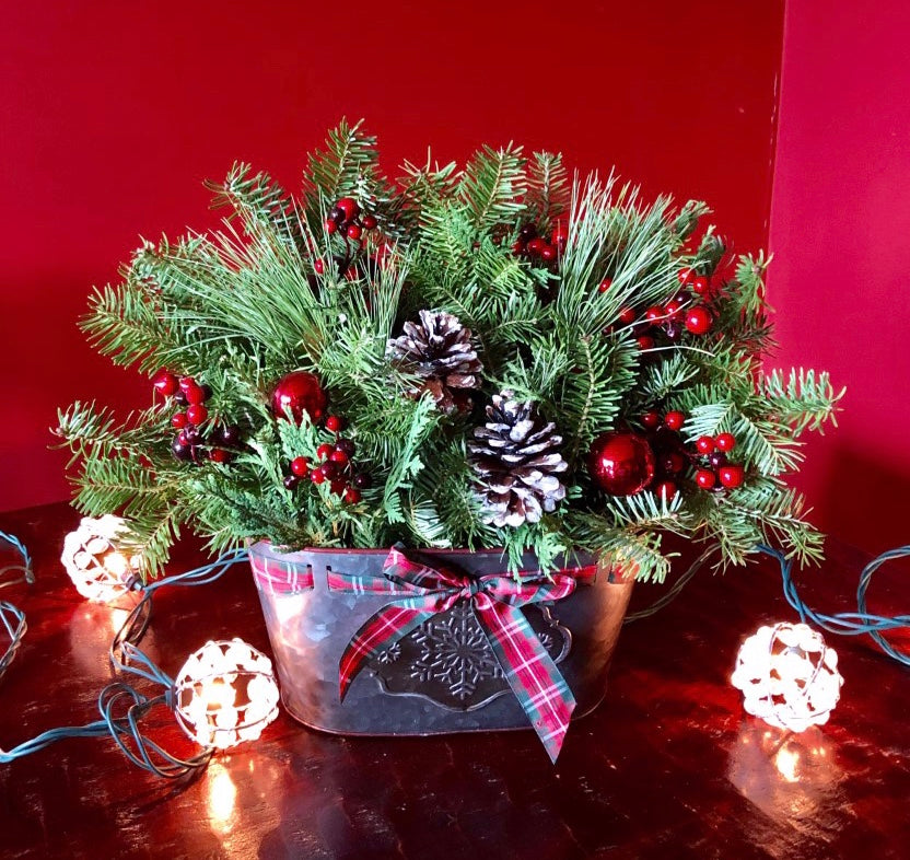 Metal Centerpiece-Decorative Evergreens-Christmas Delivered