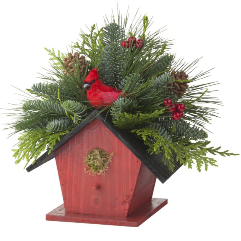 Birdhouse Centerpiece w/ Cardinal-Decorative Evergreens-Christmas Delivered