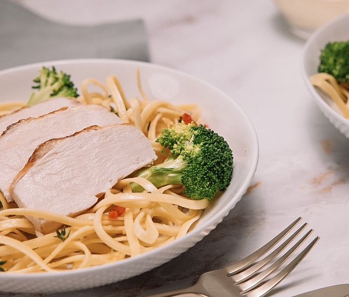 Linguine with Roasted Chicken and Broccolini