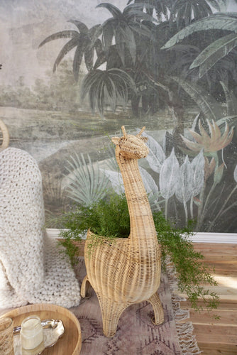 Giraffe Rattan Basket and Plant Stand Decor Picnic Imports