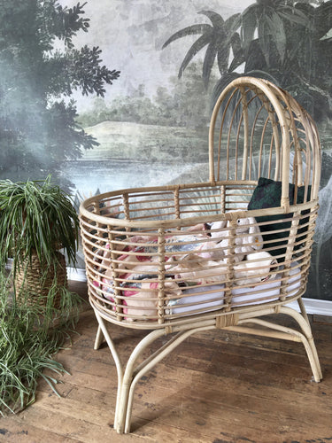 Rustic Rattan Bassinet With Hood Picnic Imports
