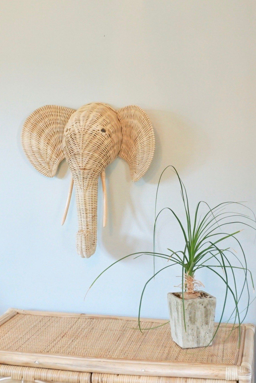 Woven Wicker Elephant Wall Hanging Decor Picnic Imports