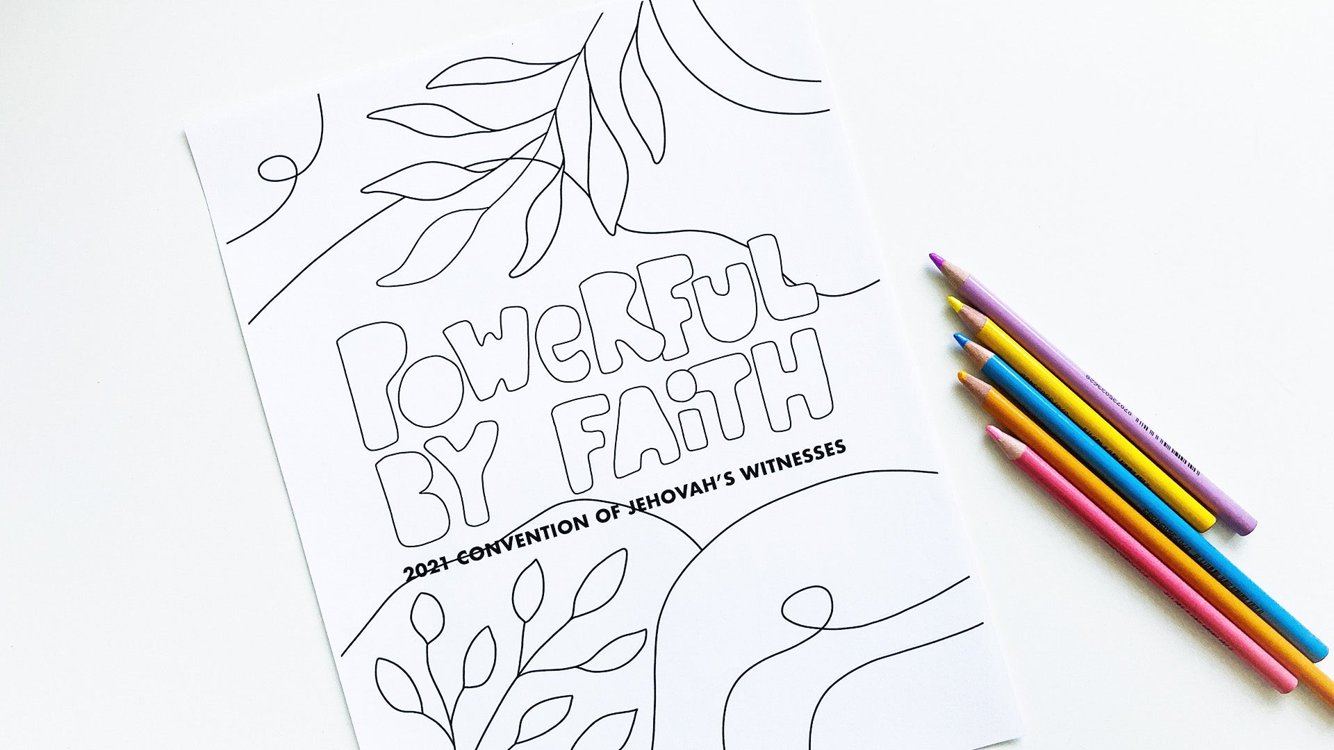 Free JW coloring page Powerful by Faith convention of Jehova's Witnesses