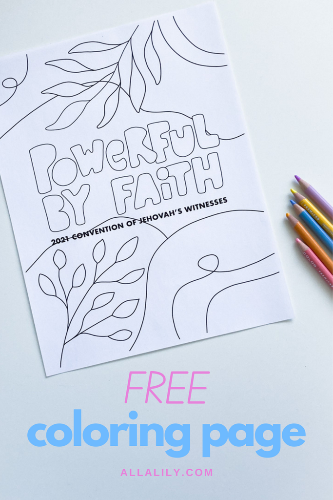Free JW printable coloring page for kids Powerful by Faith