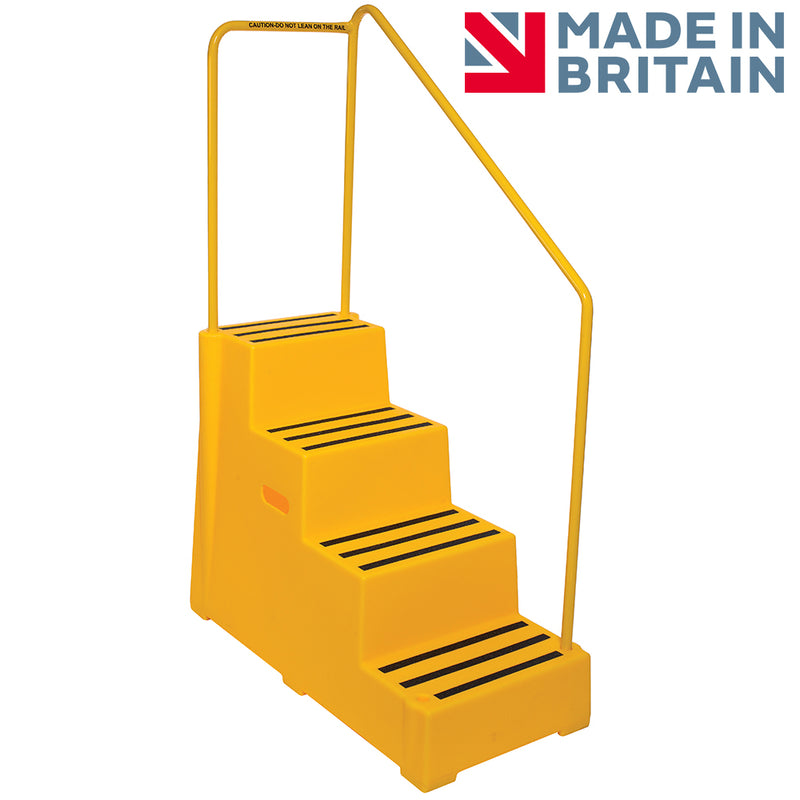 Heavy Duty Safety Steps- 4 Step with Handrail
