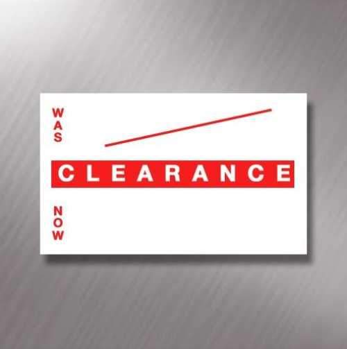 Printed CT7 'Clearance Was / Now' 26 x 16mm Price Gun Labels
