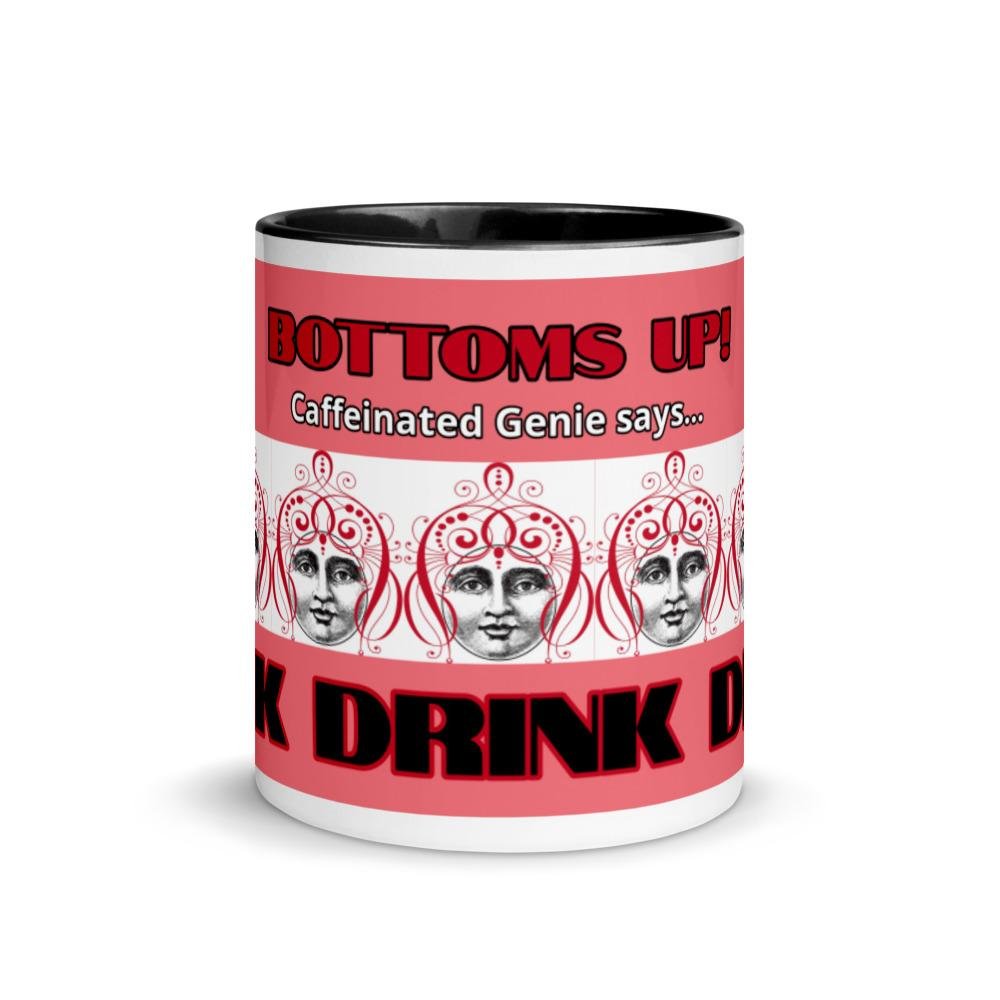 BOTTOMS UP! -Caffeinated Genie DRINK mug in Coral - Magic Swag Club