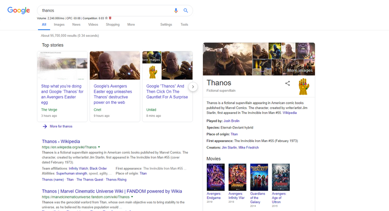 Thanos can wipe out half your Google search