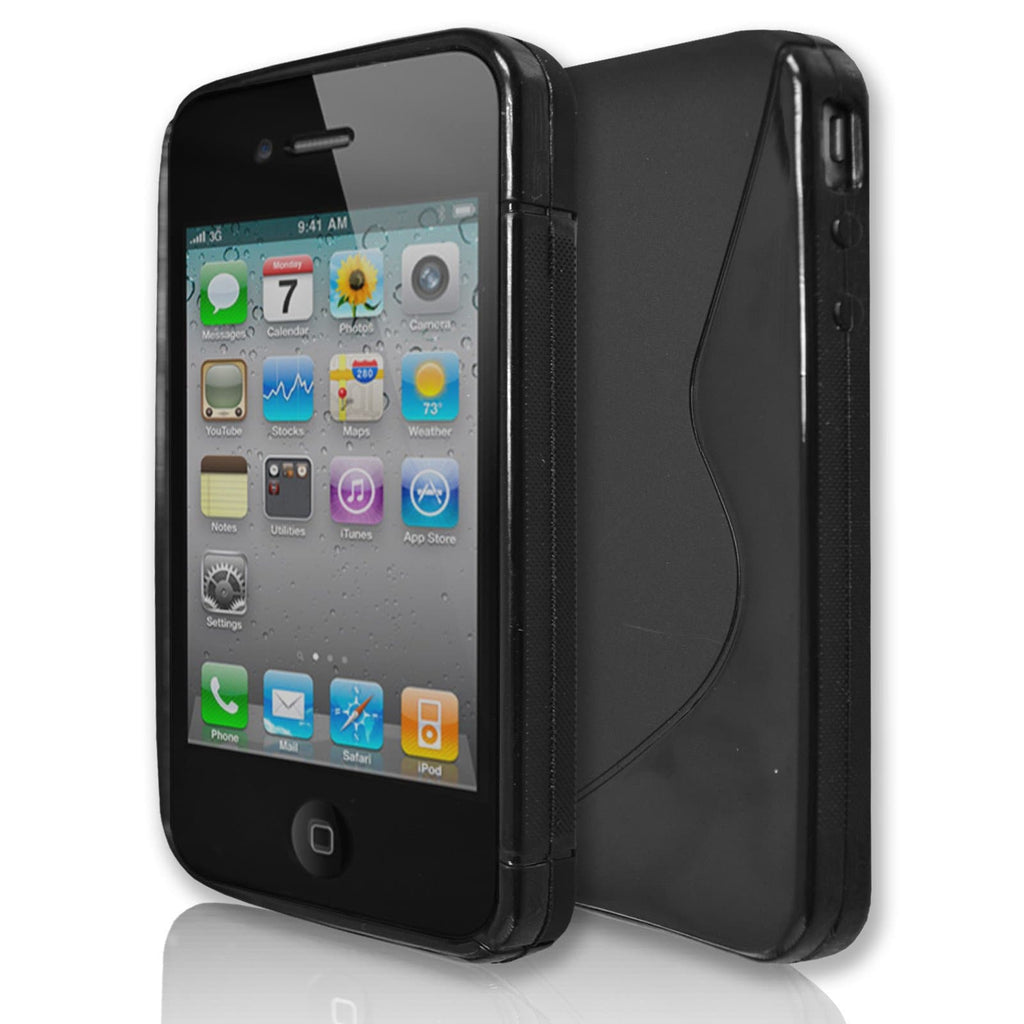 iPhone 4 / 4S -  S Line Gel Soft Silicone Case - Black