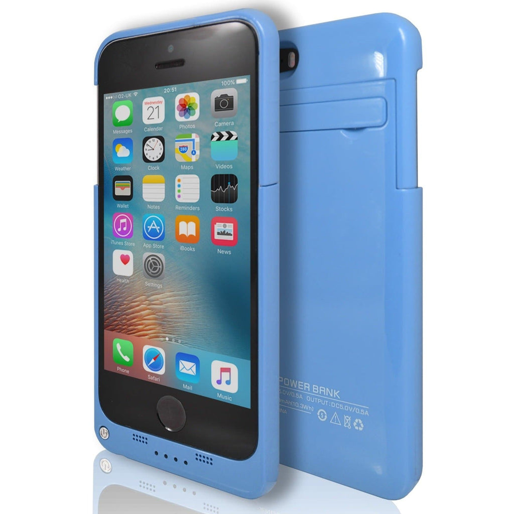 iPhone 5 / 5S / SE Blue Slim Protective Rechargeable Emergency Charger Power Case