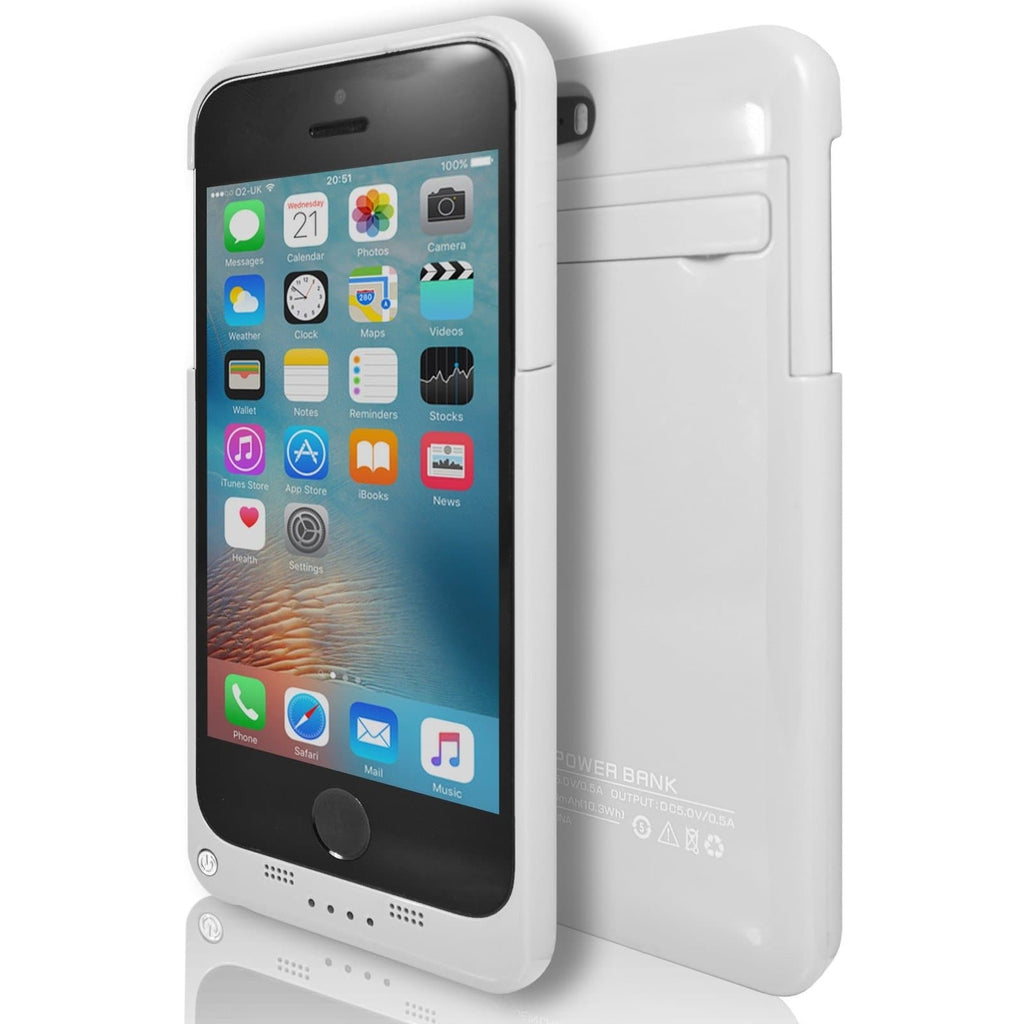 iPhone 5 / 5S / SE - Slim External Rechargeable Charger Battery Power Case - White