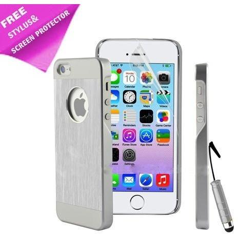iPhone 5 / 5S / SE - Luxury Hard Metal Brushed Aluminium Case Hybrid - Silver / White