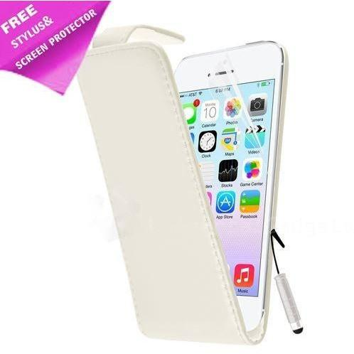 iPhone 5 / 5S / SE - Luxury Ultra Slim Magnetic Leather Flip Case Stand - White