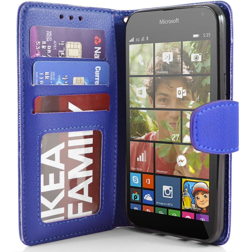 Microsoft Lumia 535 PU Leather Wallet Case - Blue