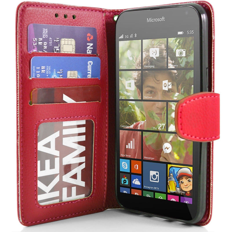 Microsoft Lumia 535 PU Leather Wallet Case - Red