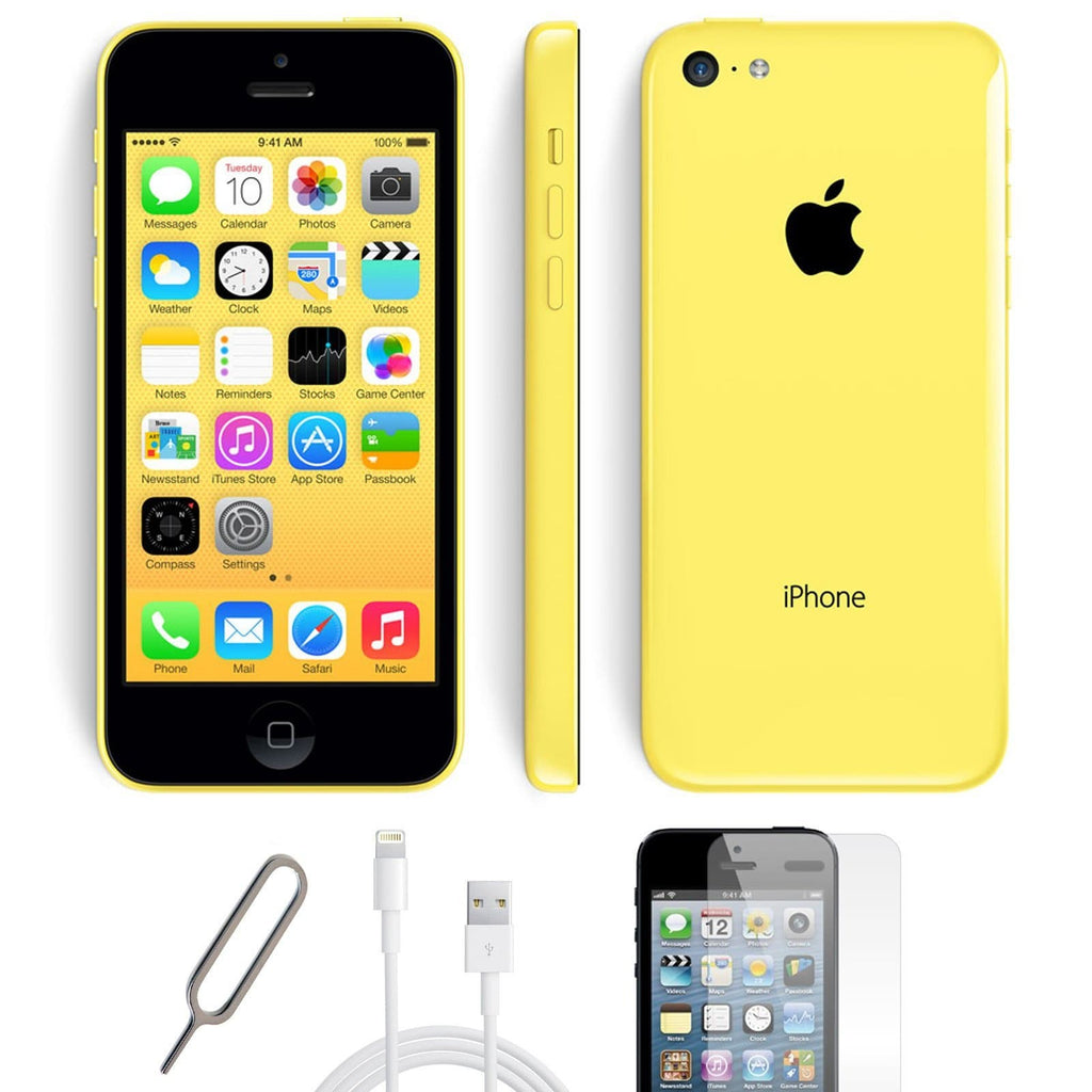 Apple iPhone 5C - Yellow - (32GB) - Unlocked - Pristine Condition - Basic Bundle