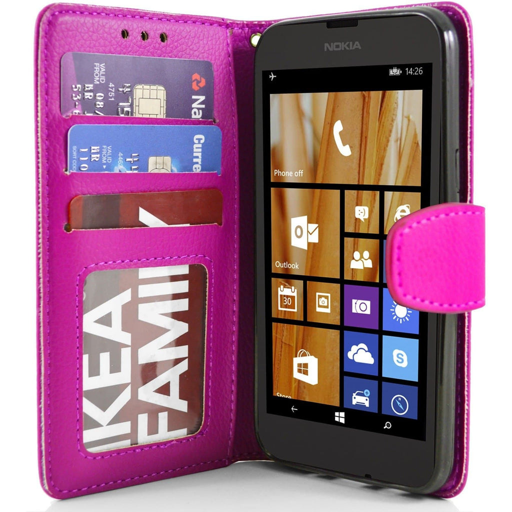 Nokia Lumia 630 PU Leather Wallet Case - Pink